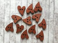 Wooden Heart Buttons x20 Love Shaped Embellishments Scrapbooking Novelty Craft