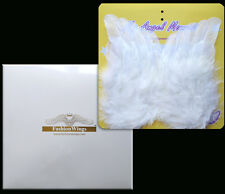 White marabou feather angel wings baby tots newborn infant poster frame gift set