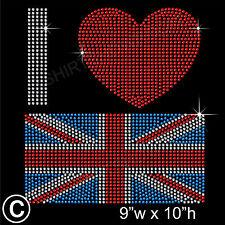 """""""I Love Great Britain"""" con Strass trasferimento HOTFIX FERRO DA STIRO Motif + regalo gratuito"""