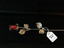 JOB LOT 100 RED ROSE ENAMEL SILVER METAL LEAVES HAPPY VALENTINES DAY GIFT