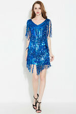 Blue SEQUINED FRINGE DRESS/SEQUIN STAGE DANCE COSTUME/DRAG QUEEN/6-10 (Maybe 12)