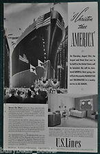 1939 UNITED STATES LINES advertisement, steamship AMERICA launching