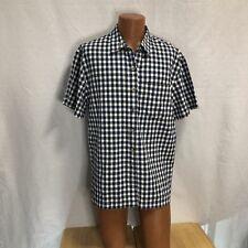 Russ Sport Company Large Blue Plaid  Button Up Short Sleeve Shirt Casual Dress