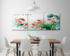 "16X16"" X3 Gold Fish in Lotus Pond Wall Decor Art Oil Painting on Canvas NO FRAME"