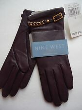 Ladies Nine West Chain Cuff Genuine Leather Gloves, Small, Brown