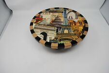 New ANNIE MODICA PARIS EIFFEL TOWER Decoupage Cheese Cake Serving Stand Plate