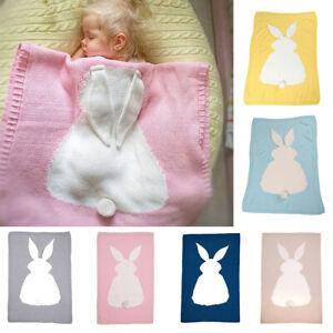 Newborn Baby Infant Knit Crochet Swaddle Wrap Swaddling Blanket Bunny Rug