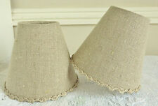 SUPERB FRENCH CANDLE LAMPSHADE NATURAL LINEN 11 x 13 cm COUNTRY 4.3 x 5.1 INCHES