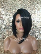 Synthetic Lace Front Wig Bob Short Straight Heat Safe #1b Wigs For Women Heat Ok