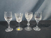 Cordial Glasses Lead Crystal Cut Glass Bohemia 3 Designs Lot of 4 Label Sherry