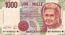 BANCONOTA ITALIANA DA 1000 LIRE MONTESSORI SERIE AF 930932 W SC-7