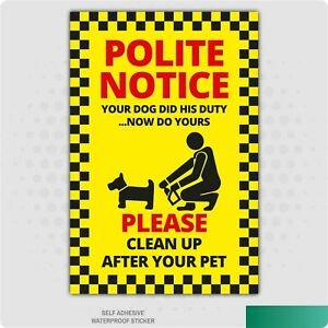 Clean Up After Your Pet Self Adhesive Stickers Signs Business Dog Fouling