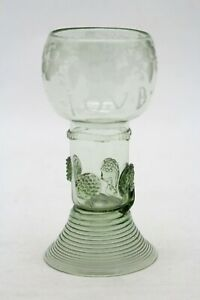 antique 18th C. Wine Glass, Roemer Rummer, wheel-cut engraving, text: I.O.V.B