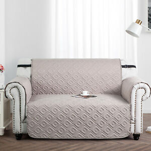 Quilted Sofa Protector 1,2,3 Seater Reversible Couch Cover with Adjustable Strap