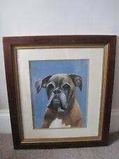 More details for hardwood framed oil painting on board of a boxer dog o
