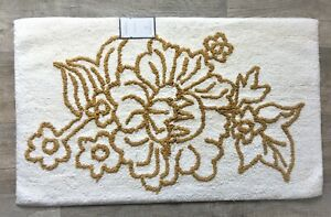 """Floral Accent Bath Rug Cotton Ivory & Gold 20"""" x 32"""" by Threshold, New, Bath Rug"""