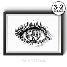 100% Cotton Rag Black and White Landscape Wall Art Print All Seeing Eye Nature