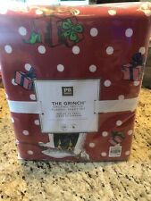 Pottery Barn Teen Holiday Grinch Set.  Queen Flannel Sheets New