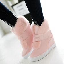 Korean Snow Women's Platform Wedge Leather Ankle Boot Faux Fur Furry Warm Shoes