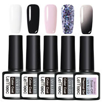 LEMOOC 5Pcs 8ml Nagel Gellack Soak off Nail Art UV Gel Polish Thermal Sequin Kit