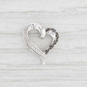 Treated Black White Heart Pendant 10k White Gold Floating Open Heart
