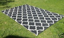 Moroccan OUTDOOR Quatrefoil RECYCLED Geometric BLACK White Area Rug 6 x 10 NEW