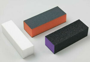 NAIL BUFFER ACRYLIC SANDING BLOCK FILES WHITE, ORANGE, PURPLE, BLUE SALON ART