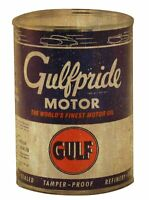 GULFPRIDE MOTOR WORLD'S FINEST GULF HEAVY DUTY USA MADE METAL ADVERTISING SIGN