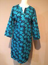 garnet hill Cotton Navy Green Blue Turquoise Mini Dress Tunic Sz.16-L
