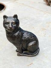 Antique Vtg Cast Iron Arcade Black Cat Kitten Fine Hair Still Penny Metal Bank