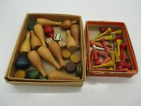 Vintage Wood Toys, Tops, Bowling, Dice Etc