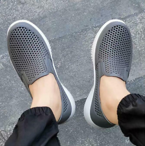 Men Round Toe Gray Low Heels Slip On Breathable Casual Shoes Summer Beach Shoes