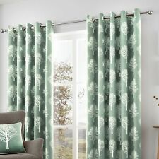 Fusion Woodland Trees Eyelet Curtains Set of 2 in Duck Egg 229 X 183cm