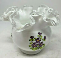 "Fenton Silver Crest Double Crimp Violets in Snow Milk Glass Rose Bowl 3.7"" Vase"
