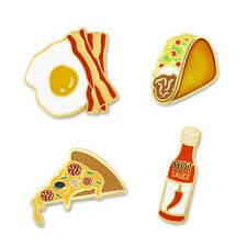 PinMart's Hot Sauce Taco Pizza Bacon and Eggs Enamel Lapel Pin Set