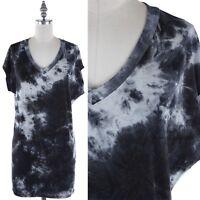 Tie Dye Cap Sleeve V Neck T Shirt Tunic Top Casual Rayon Spandex S M L