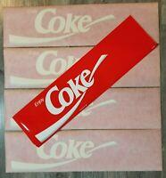"4 Vintage Coca Cola Decal Stickers Retro Coke Logo Peel & Stick 24.5"" X 6.5"""
