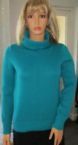 Ladies long sleeved thick knit polo neck jumper from M&S, teal, size 8