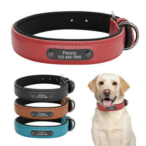 Soft Leather Personalised Dog Pet Collar Padded w/ Nameplate ID Engraved S M L