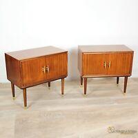 Coppia di comodini antichi in legno comodino Vintage anni '50 60 modernariato