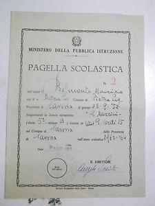 PAGELLA SCOLASTICA SCUOLA ELEMENTARE G.MAZZINI DI SAVONA 1963 BIS-71