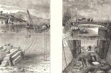 BLDGS. Submarine Locomotion. building breakwater; - Repairing floor lock 1880