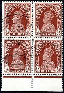 INDIA 1937 GEORGE VI  USED MARGINAL BLOCK OF 4 A80/151 BROWN 1/2A