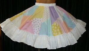 """Bertie's Orig. Patchworks Square Dance Skirt M//L/XL Elastic Waist: 28""""-42"""" L21"""""""