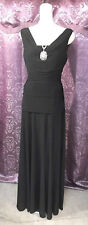 30s-40s Style Black Fitted Classic Hollywood Evening Gown w/ V Neck sz Med-Lg