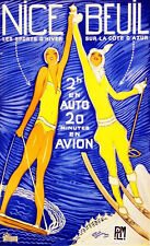 Vintage Ski Poster Nice Beuil by Domergue  c 1930 13 x 19 Giclee print