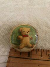 Halcyon Days Enamel trinket/pill box Teddy Bear with Bowtie Shireen Faircloth