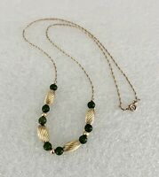 Vintage 14K Yellow Gold Chain Jade & Gold Bead Necklace