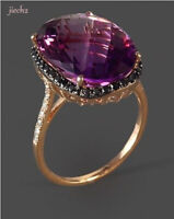 Women Rose Gold Amethyst Wedding Engagement Ring Jewelry Wholesale Jewelry