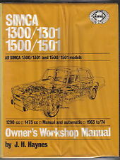 SIMCA 1300 & 1500 1301 & 1501 tutti i modelli 1963-1974 Haynes Officina Proprietari Manuale